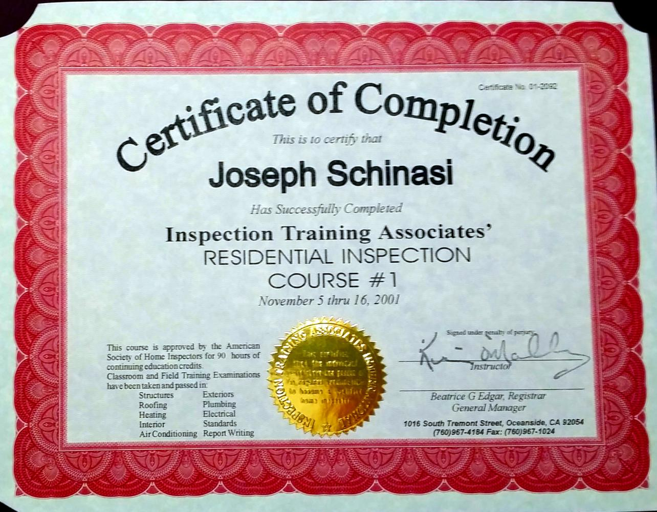 Home Inspection Certificate (The Family Business)