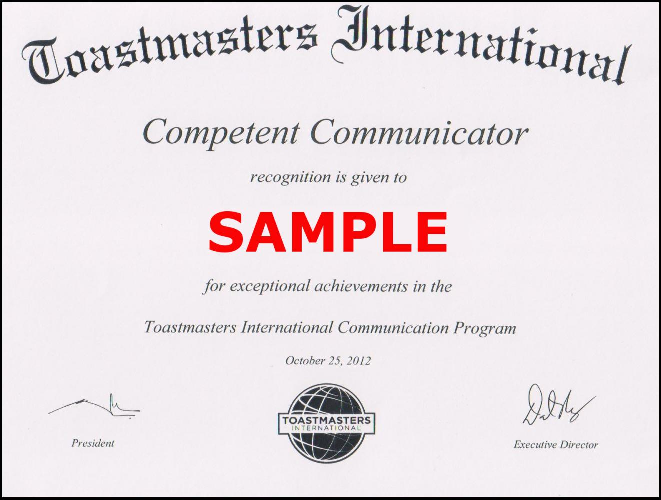 Toastmaster Competent Communicator Certificate